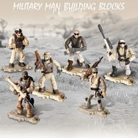 136 scale modern military action figures desert storm mega block ww2 weapon building bricks toys for boys gifts