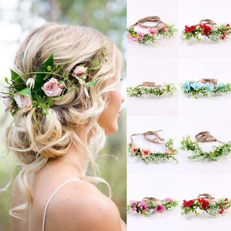 Diadema de flores para mujer, diadema de corona de flores para boda para mujer, guirnalda de hilo ajustable de vid Bohemia, bandas para el cabello accesorios para dama de honor