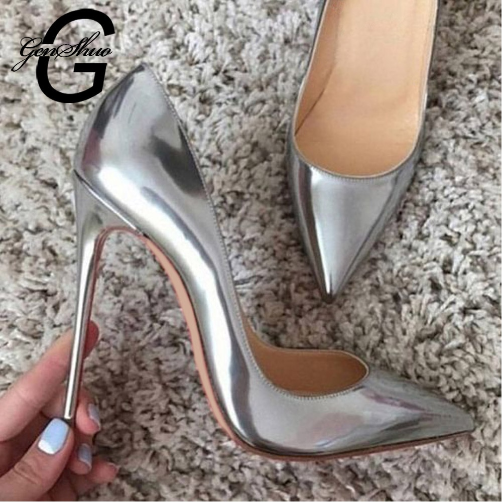 Genshuo/женские туфли-лодочки на высоком каблуке, серебристые соблазнительные женские туфли на высоком каблуке, модные роскошные туфли на шпильках для свадебной вечеринки, большие размеры