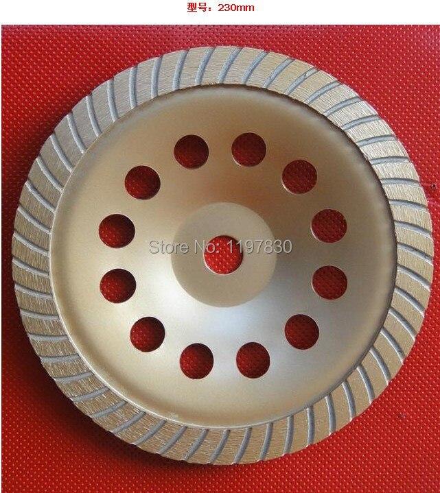 Gratis verzending sinetering 230*22*5mm versterkt continious turbo diamond cup wiel voor slijpen steen marmer/graniet/beton