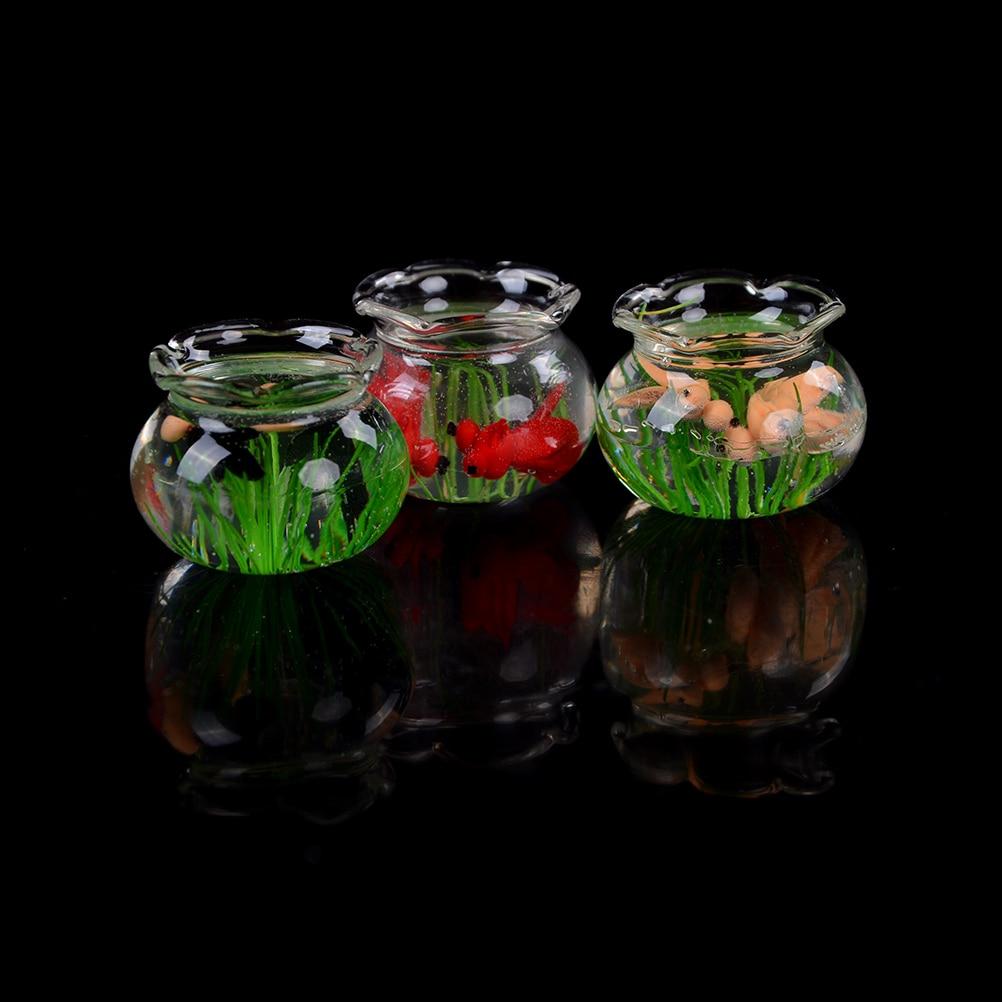 Pretend Play toys 1:12 Dollhouse Miniature Glass Fish Tank Transparent Aquarium Dollhouse Ornaments Kids Toys Doll Toys