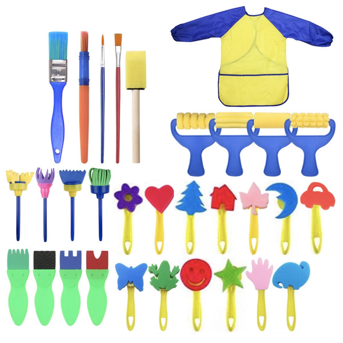 31 pçs/lote crianças aprendizagem precoce esponja pintura escova kit criança diversão pintura escovas manga longa avental à prova dwaterproof água arte conjuntos