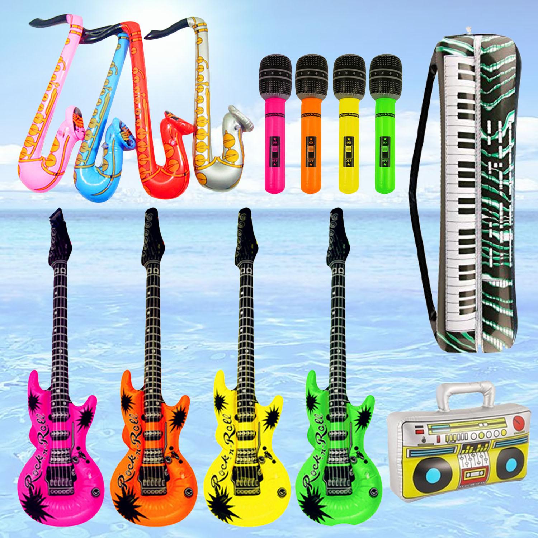 14cps colorido Musical inflable guitarra saxofón micrófono Piano teclado grabadora de Radio globos de aire concierto decoración juguete