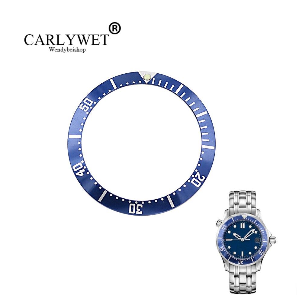 CARLYWET, venta al por mayor, aluminio de alta calidad, azul oscuro, con inserto de bisel de reloj de escritura blanco para 2220
