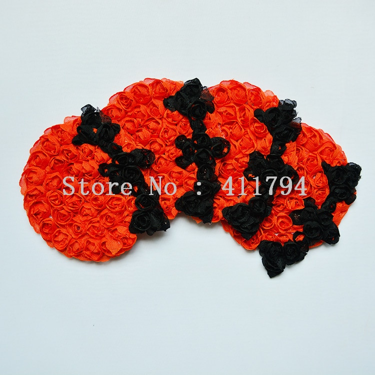 50 pcs / lots 3 '' halloween bat shabby chiffon flowers , bat chiffon flowers