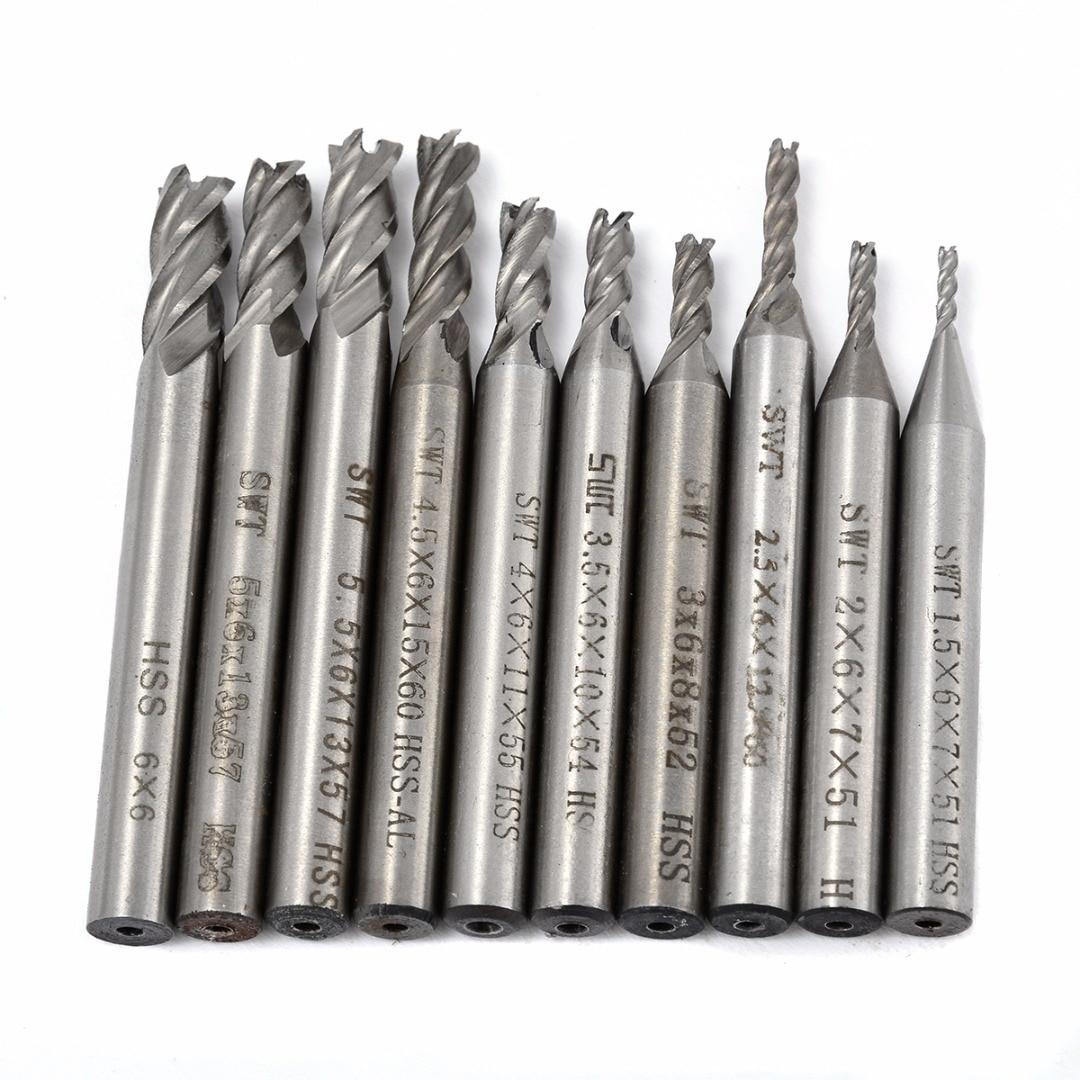 Купить с кэшбэком 10pcs 4 Flute HSS End Mill Set Straight Shank Aluminum Milling Cutter Tool Set 1.5/2/2.5/3/3.5/4/4.5/5/5.5/6mm