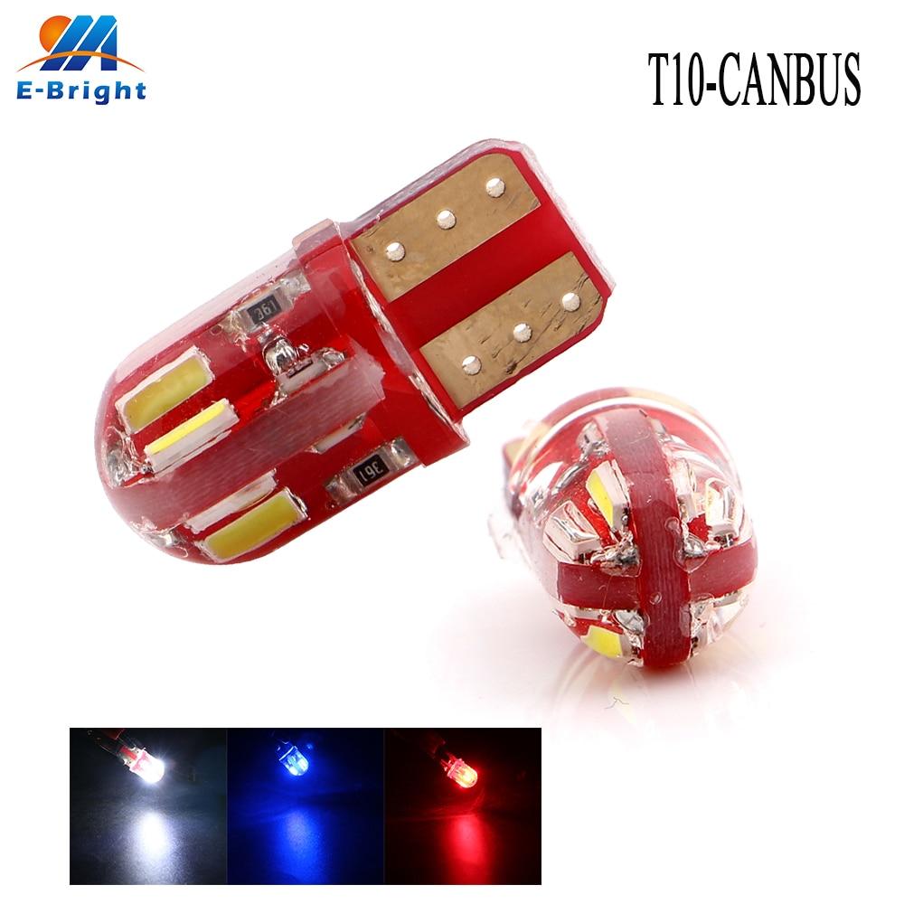 10 Uds 50 Uds 200 Uds W5W 194 T10 Canbus 4014 8 SMD de sílice NO ERROR bombilla indicador Led para coche luz inversa Auto cola lámpara de advertencia 12V 12V