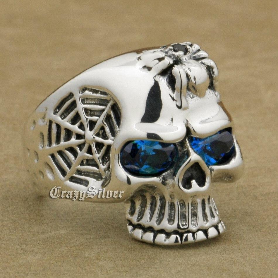 جمجمة وعظمتين متقاطعتين من الفضة الإسترليني عيار 925 ، جمجمة ، بانك ، للرجال ، 9Q101 ، مقاس أمريكي 7 ~ 15