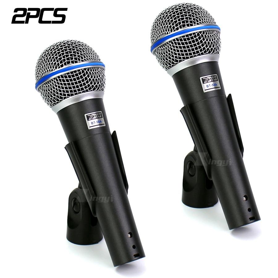 2PCS BT 58A Professional Vocal Handheld Mic Dynamic Microphone For BETA58A BETA 58 Karaoke System KTV DJ Mixer Audio Amplifier