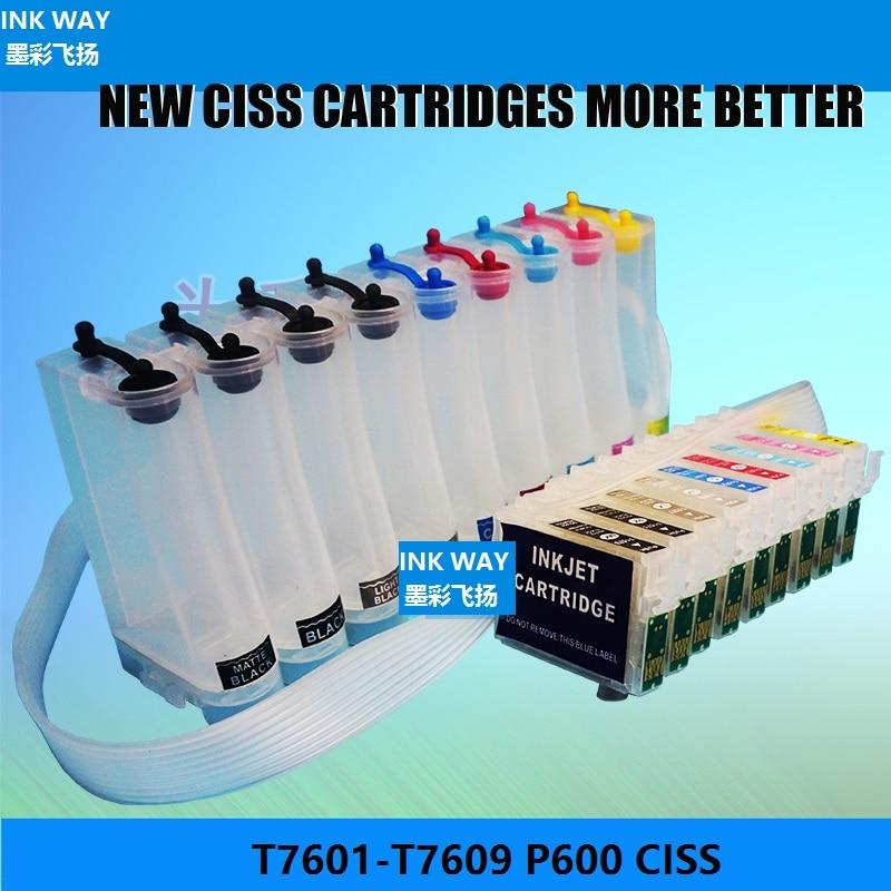 Maneira da tinta T7601-T7609 lascado sistema de fonte de tinta contínua ciss para epson p600 surecolor p600 surecolor SC-P600 impressora