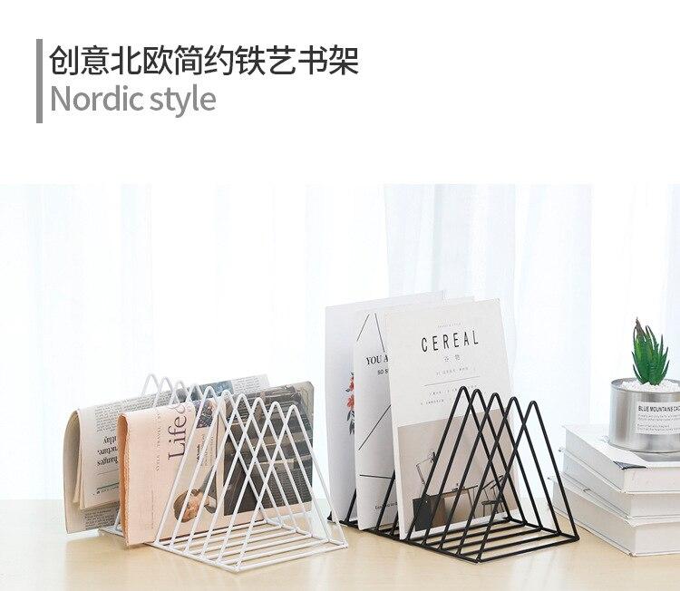 Simple Nordic Wrought Iron Golden Triangle Magazine Rack Bookshelf Office Desktop Decoration Finishing Racks Book