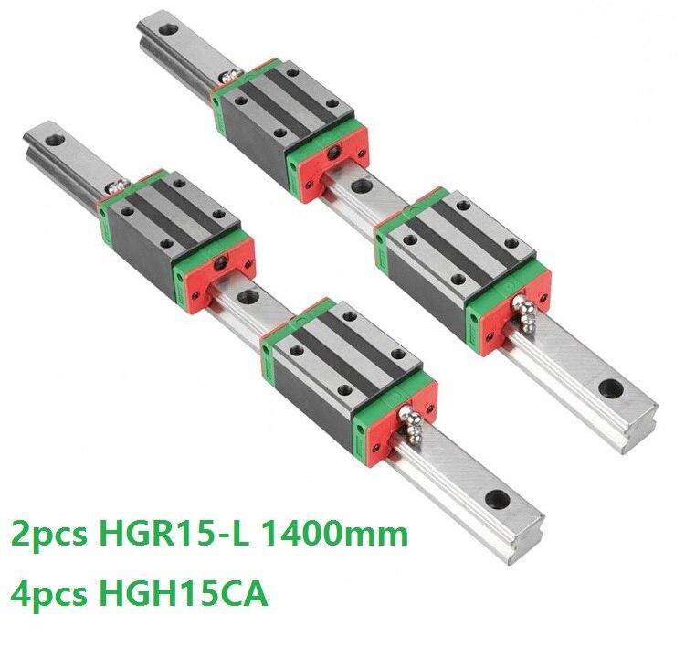 2 قطعة الخطي دليل السكك الحديدية HGR15 -L 1400 مللي متر + 4 قطعة HGH15CA خط انزلاق كتلة HGH15 الصين صنع
