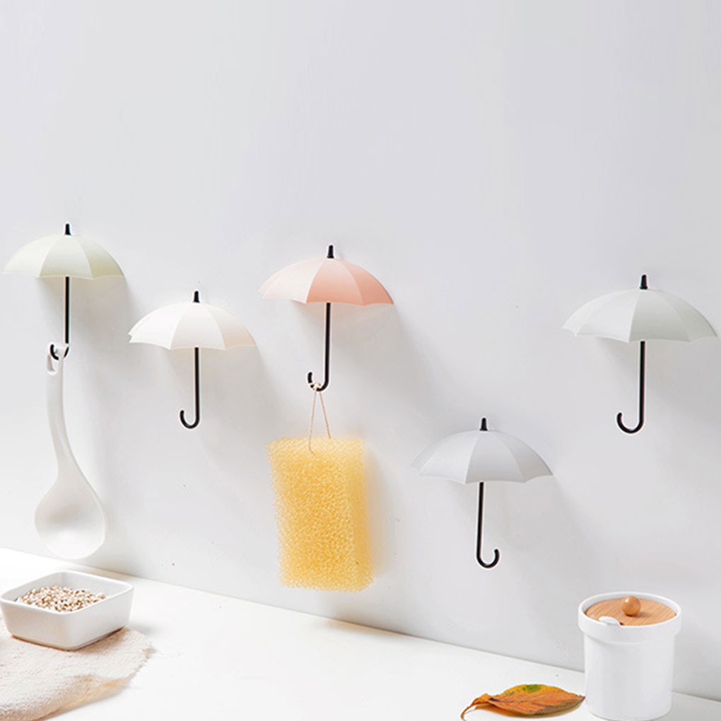 3PCS/Set Mini Lovely Umbrella Shape Strong Suction Hook Wall Mount Key Holder Unmarkable Adhesive Hanger