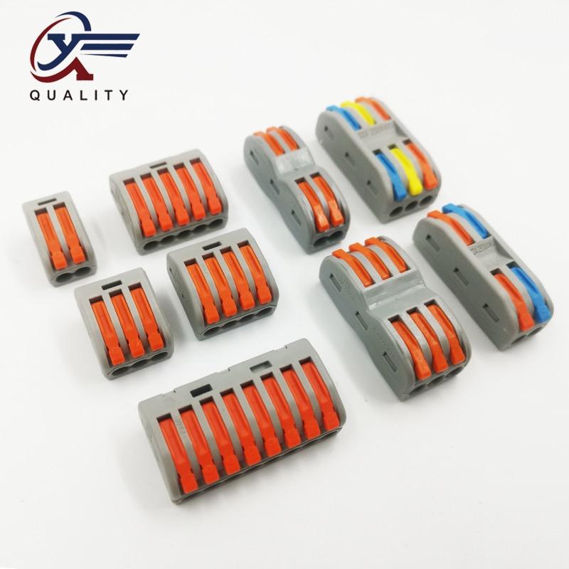 2/10/20Pcs Compact Wire Wiring Connector PCT-222 212/213/215 Universal Conductor Terminal Block Threader Splitter SPL-2/SPL-3