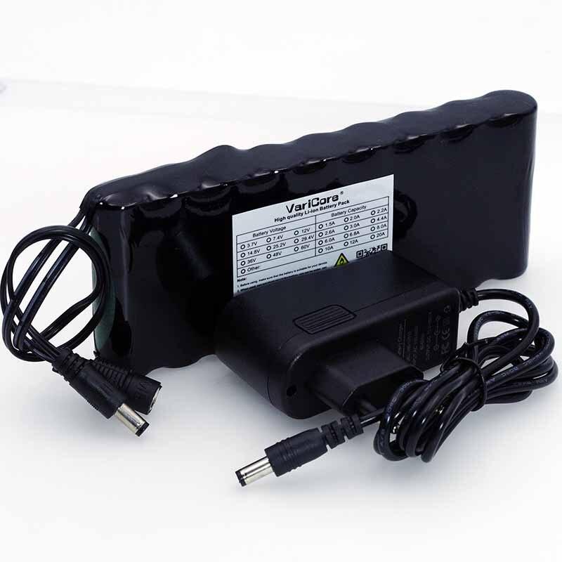 Batería recargable VariCore 12 v 9,8 Ah 9800mAh 18650, placa de protección de 12 V, batería de Monitor CCTV + cargador de 12,6 V 1A