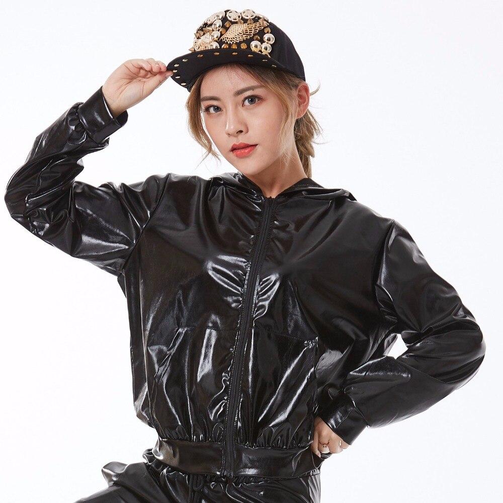 Moda Primavera otoño mujer chaqueta bomber personalidad puesta en escena desgaste paillette feminina casaco negro baile de hip hop abrigo