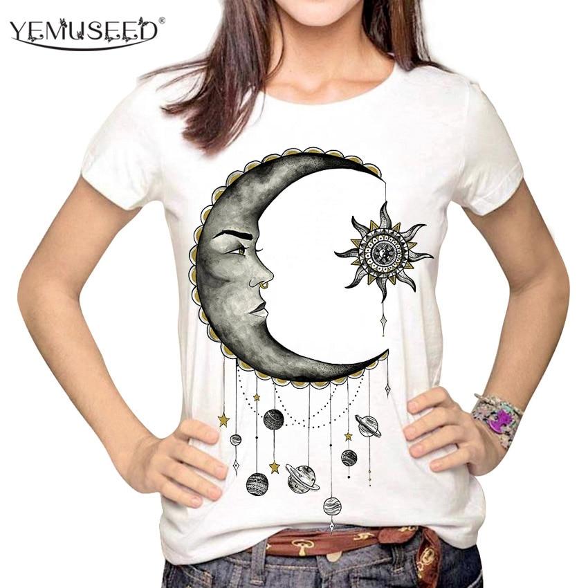 Женская футболка YEMUSEED, футболка-карандаш с 3D принтом Солнца и Луны, Tumblr, размер XL