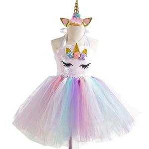 Блестящая одежда, Детские вечерние платья для детей от 2 до 11 лет, белый тюлевый костюм с блестками для девочек, платье-пачка с единорогом