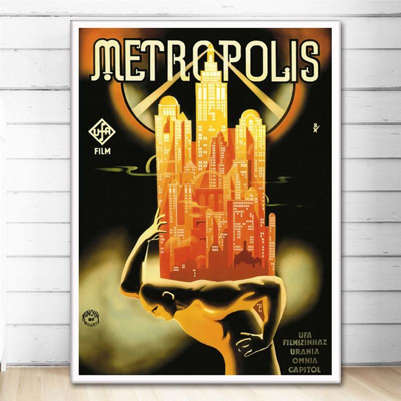 Película Vintage de Alemania de metrópoli Retro, Póster Artístico de Fritz Lang, cuadro de pared, decoración del hogar, carteles e impresiones
