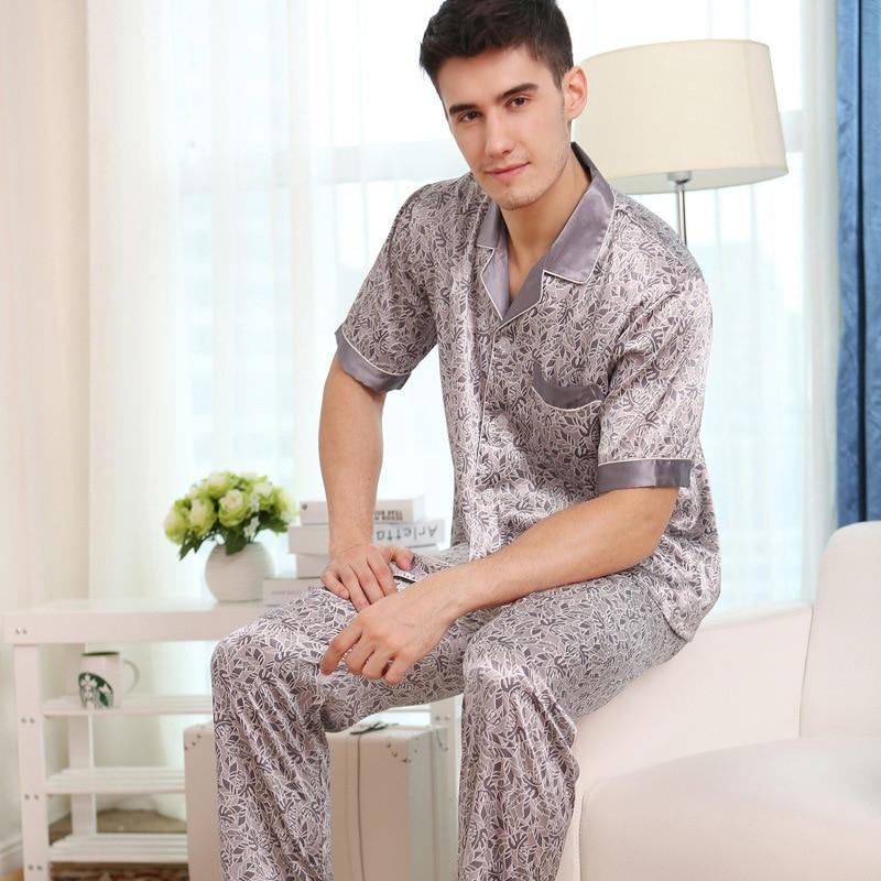 Сексуальный искусственный шелк мужские пижамы мода принты лед шелк одежда для сна мужской летний короткий рукав пижама брюки комплекты из двух частей 9001