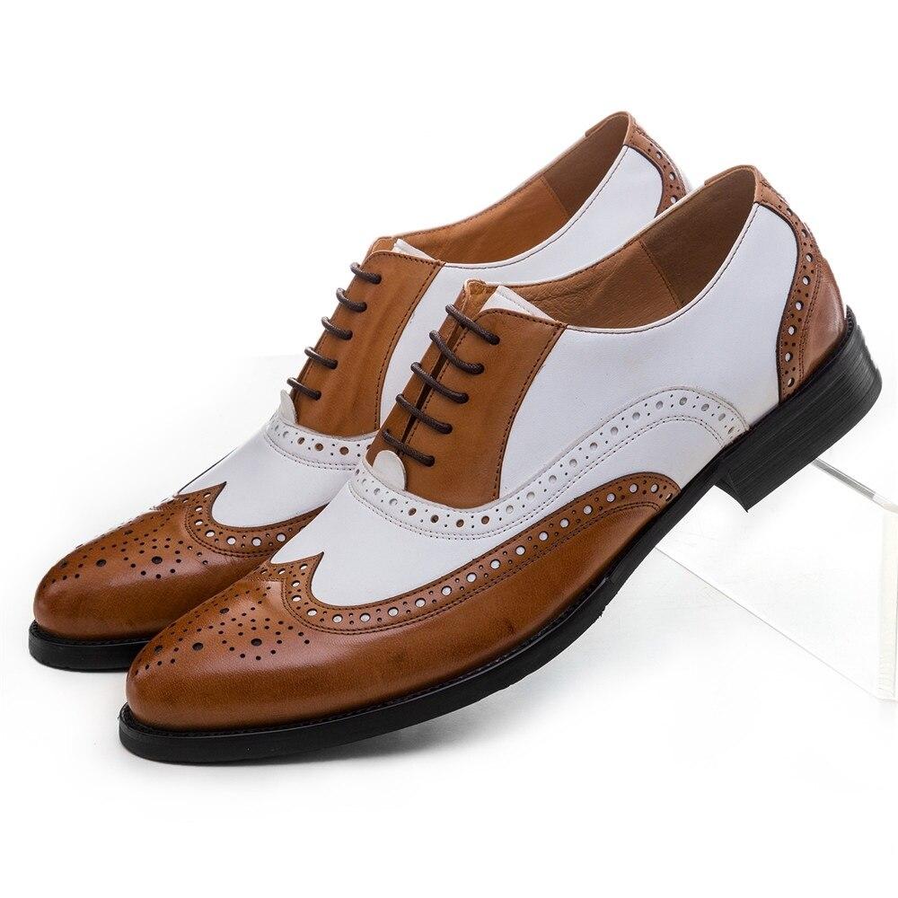 Zapatos de boda de talla grande EUR45 negro blanco/marrón blanco Oxfords para hombre, zapatos de vestir de cuero genuino, zapatos formales de graduación para niños