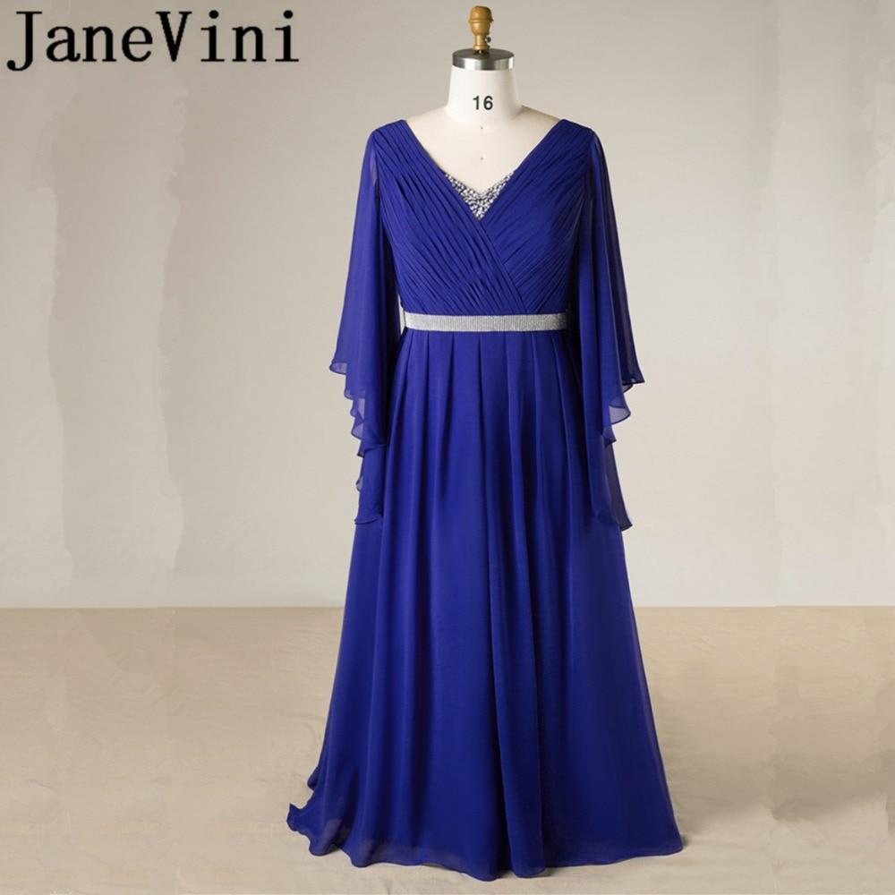 JaneVini-vestidos de Madre de la novia de cristal azul real, manga larga,...