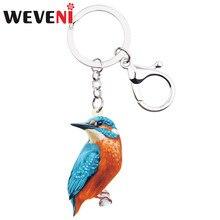 WEVENI acrylique Alcedo Atthis Kingfisher oiseau porte-clés porte-clé mode Animal cadeau bijoux pour femmes filles sac charmes