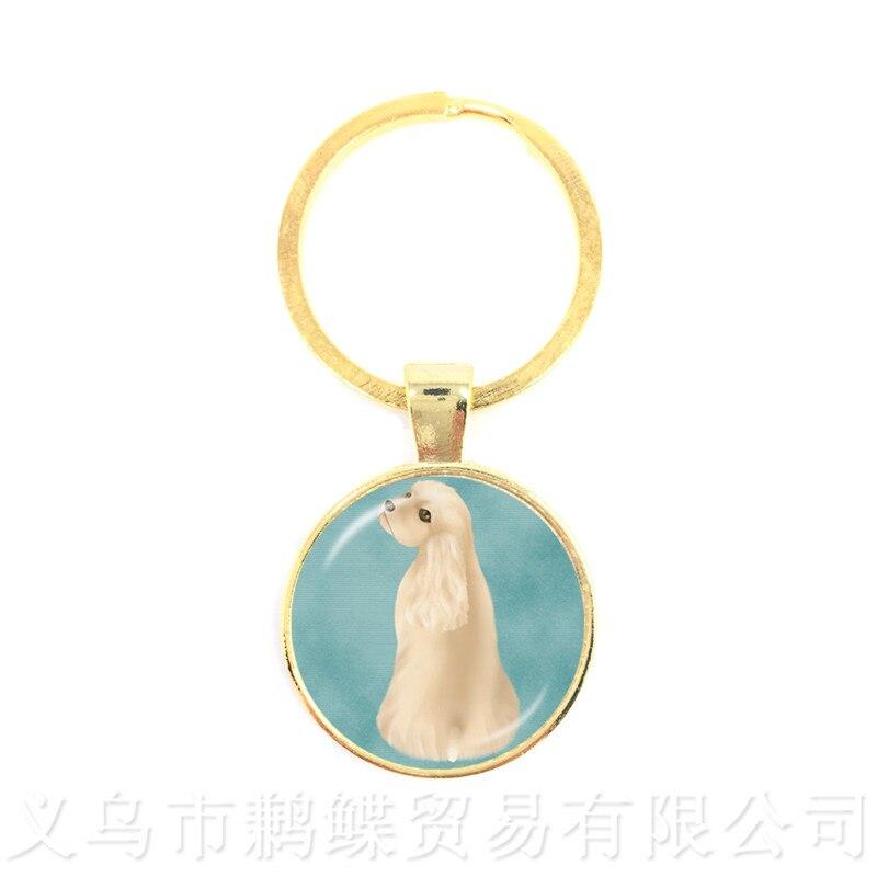 Dostosuj swojego ukochanego zwierzaka brelok okrągły szklany kopuła motyw psa seria Handmade brelok miłośnik psów kreatywny prezent hurtowo