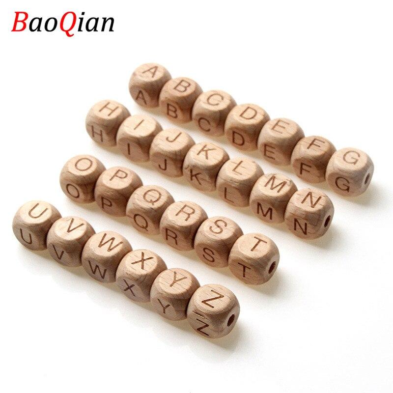 20 Uds. De cuentas cuadradas de madera de haya Natural, Cuentas de letras para joyería, juguetes para hacer bricolaje, collar para bebé de 12MM