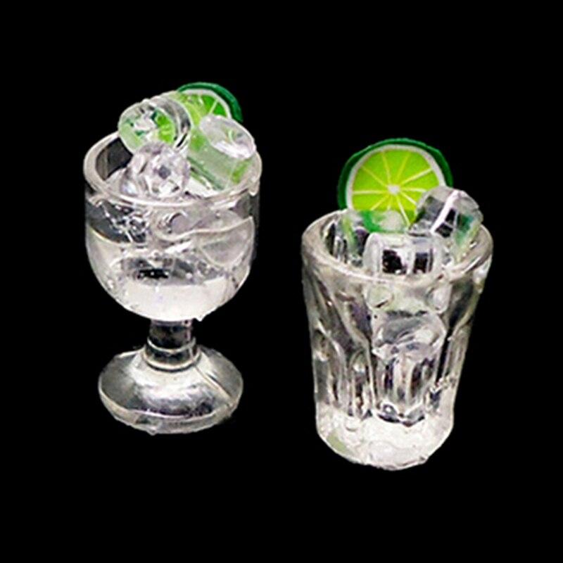 Taza de agua de limón hielo 112 casa de muñecas Mini copa de bebida Accesorios para casa de muñecas en miniatura copas de juguete Mini regalos de decoración