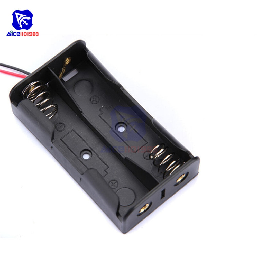 Caja de almacenamiento de plástico para baterías con cables de alambre para 2 X AA 3,0 V