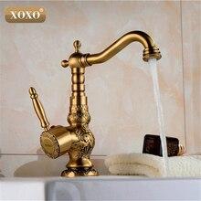 XOXOHigh 품질 레트로 빈티지 골동품 황동 욕실 싱크 분지의 수도꼭지 믹서 탭 냉/온수 50031b-1