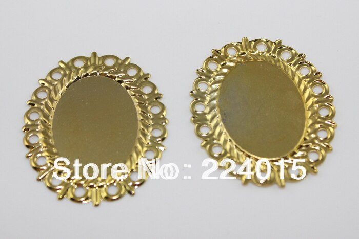 100 pces/38*31mm banhado a ouro filigrana flor envolve conectores  enfeites achados, ajuste 25*18mm strass, b0879 #