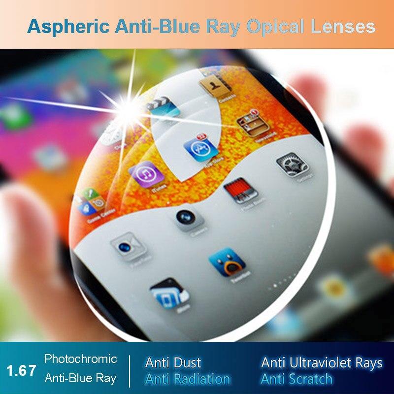 1.67 Anti-Blue Ray Photochromic Men and Women Optical Lenses Prescription Vision Correction Lenses for Digital Devices Photogray