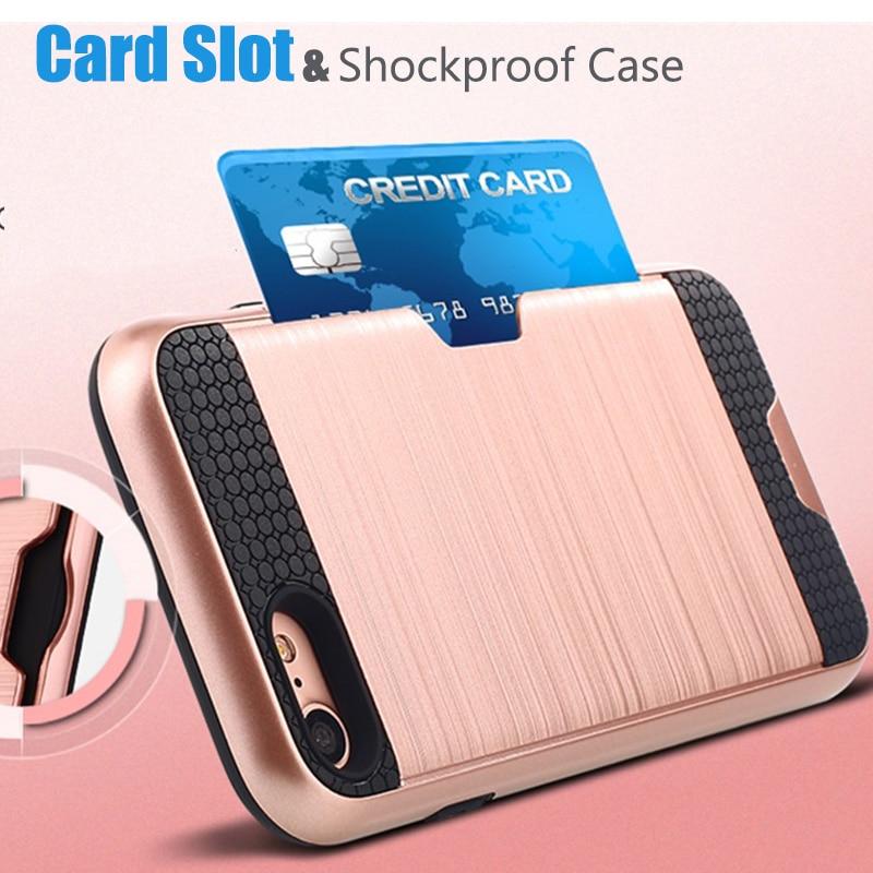 Роскошный противоударный жесткий силиконовый чехол премиум-класса для iPhone 7, iPhone 6, 6s, 7, 8 Plus, чехол-бумажник с держателем для карт, сверхмощны...