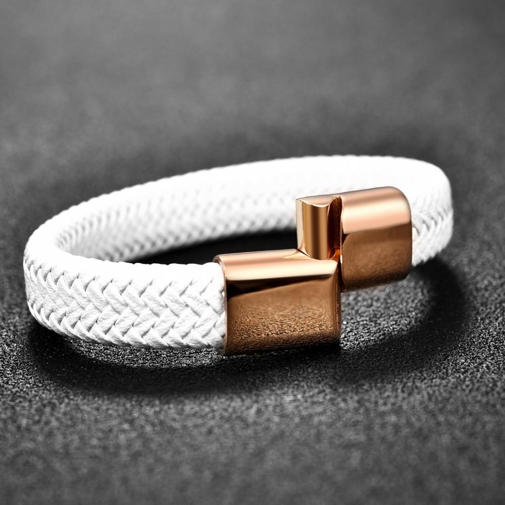 Jiayiqi 2020 Chic Geflochtene Männer Armband Weiß Leder Armband Titan Stahl Verschluss Männliches Schmuck Gold Rose Gold Silber Farbe