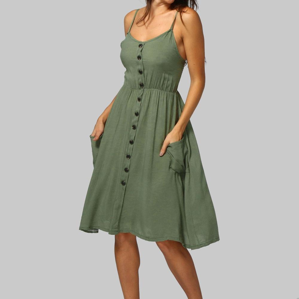 Vestido de verano para mujer, Sexy, ropa de mujer, vestidos de princesa sin mangas, suaves, con botones, sin hombros
