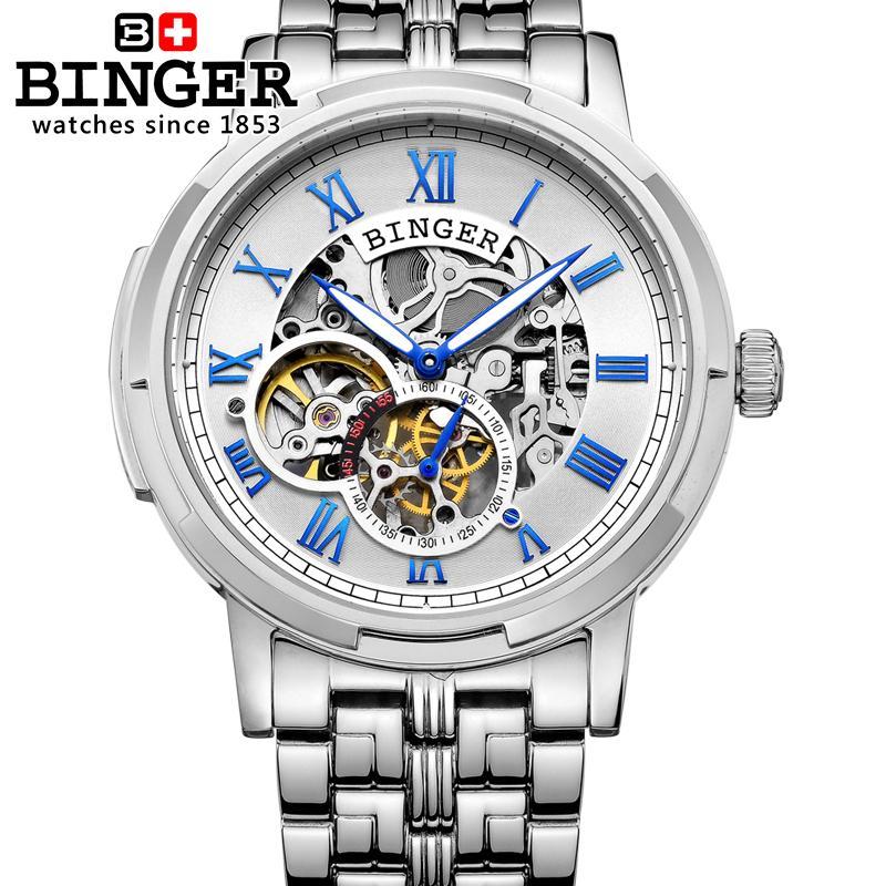 Швейцарские часы, мужские роскошные Брендовые мужские часы Бингер, светящиеся автоматические самокручивающиеся полностью из нержавеющей ...