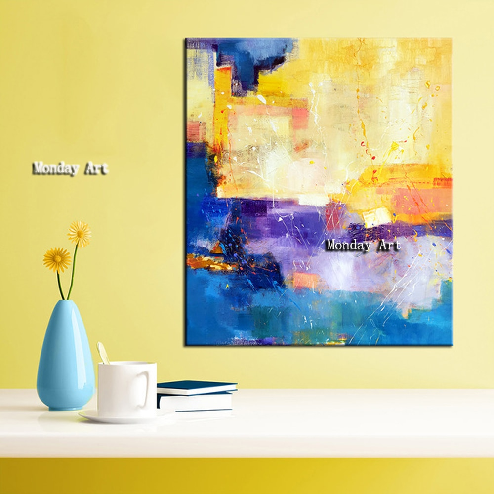 Lienzo pintado a mano, pintura al óleo, arte de pared, pinturas abstractas para pared de salón, láminas de cuadros decorativos