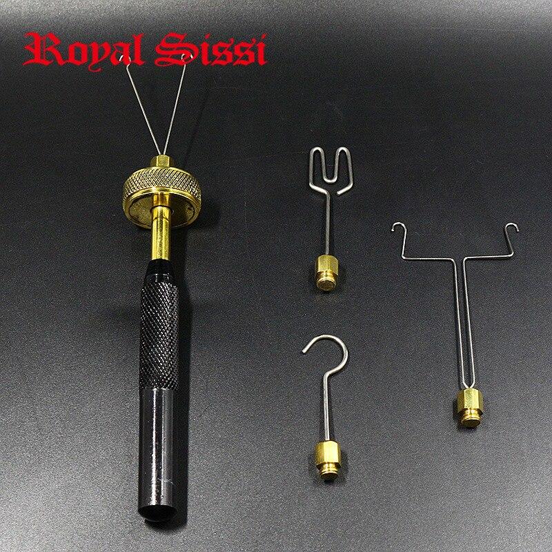 Royal Sissi fliegen binden Überspielen Spinner mit 4 kopf anhänge Messing kugellager schleife Überspielen twister delux fliegen binden werkzeuge