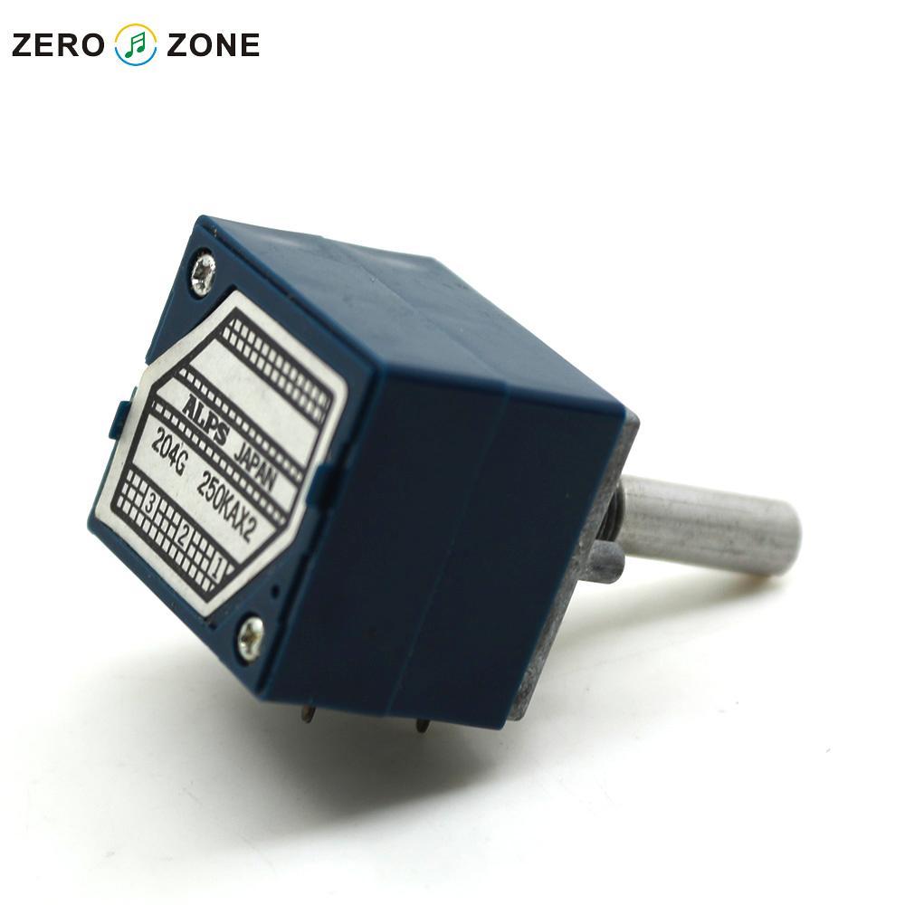 GZLOZONE 1pcs Japan ALPS 27 Type Blue Volume Potentiometer 2 X 250K  Round Shaft