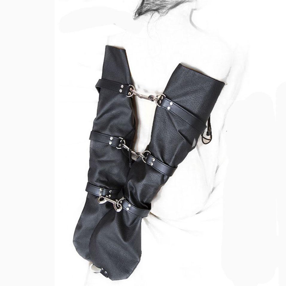 camaTech PU Leather Arm Binder Bondage Fetish Adjustable Wrist Cuffs Long Sleeve Gloves One Glove Bondage Restraints Adult Games