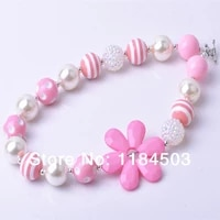 hot selling kids decorative cheap pink flower beaded baby girls chunky necklace for childs