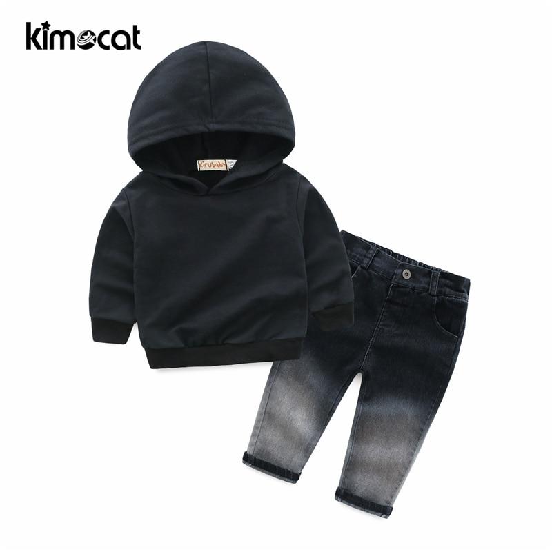 Kimocat Baby Boy ubrania dla dzieci ubrania dla dzieci garnitury ślubne formalne kostium imprezowy odzież sportowa 2 sztuk z kapturem + dżinsy chłopcy odzież zestaw