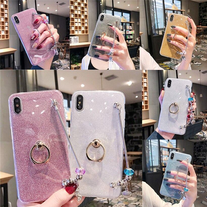 Fundas de anillo de purpurina para Samsung Galaxy J5 J6 J7 J8 2018 2017 On5 On7 2016 J6 Prime J5 J7 Pro Plus cubiertas de pulsera de EUA europea