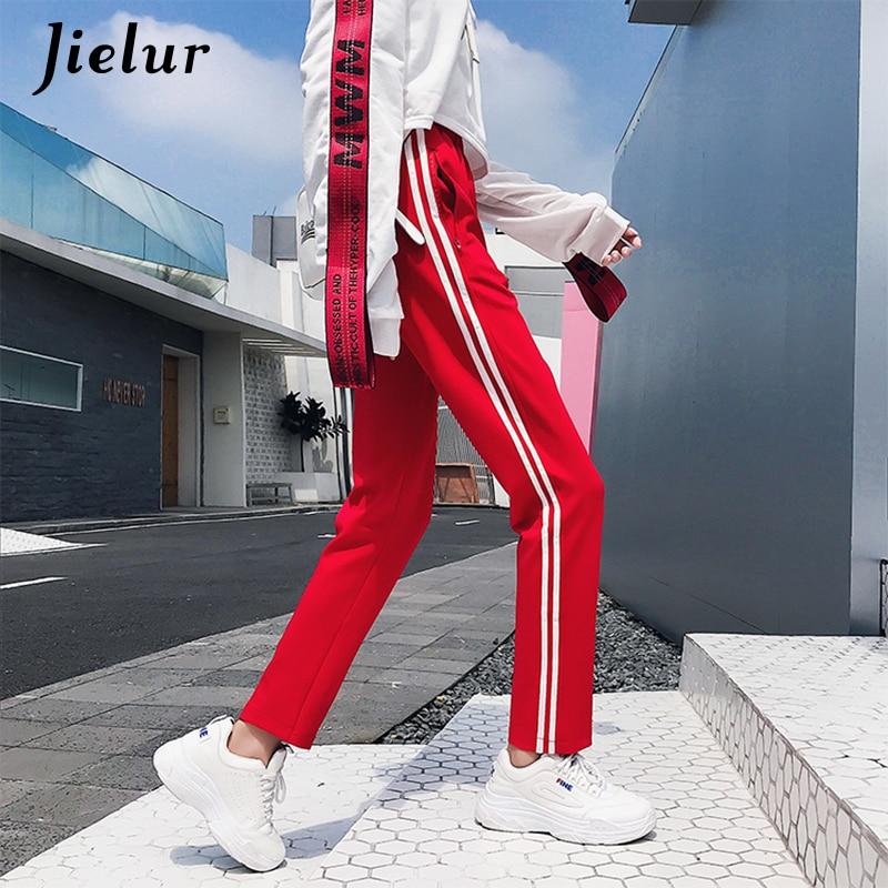 Jielur Harajuku Womens Pants Hip Hop Harem Pants White Striped Korean Style Female Trousers Elastic Waist Capris Calca Feminina