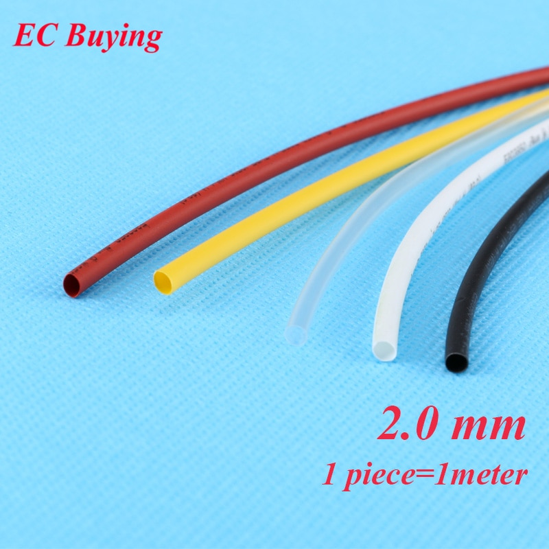 1 m/unids 2mm termorretráctil tubo de envoltura de cable termorretráctil tubo 2:1 termo chaqueta aislamiento material negro blanco amarillo rojo transparente