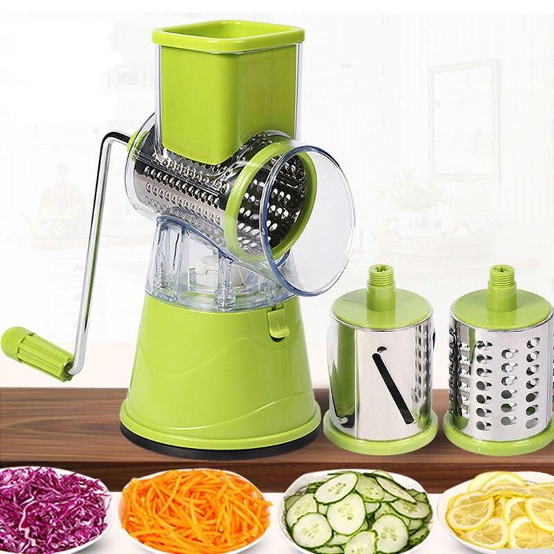 Drum-tipo de Mão-operado Triturador de Batata Ralador de Queijo Slicer da Cozinha Multifuncional Dispositivo Vegetal Acessórios
