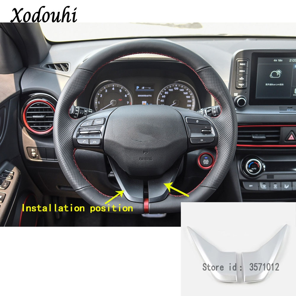 Para Hyundai Kona Encino Kauai 2017, 2018, 2019, 2020 etiqueta engomada del coche cubierta de botón de interruptor volante Interior Kit de molduras de Interior marco