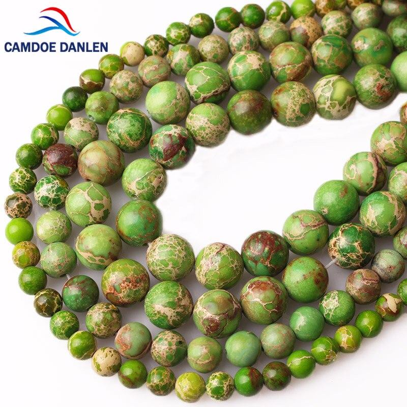CAMDOE DANLEN Piedra Natural sedimento de mar verde turquesa Imperial Jaspers Cuentas 4/6/8/10/12MM ajuste Diy cuentas para la fabricación de joyas